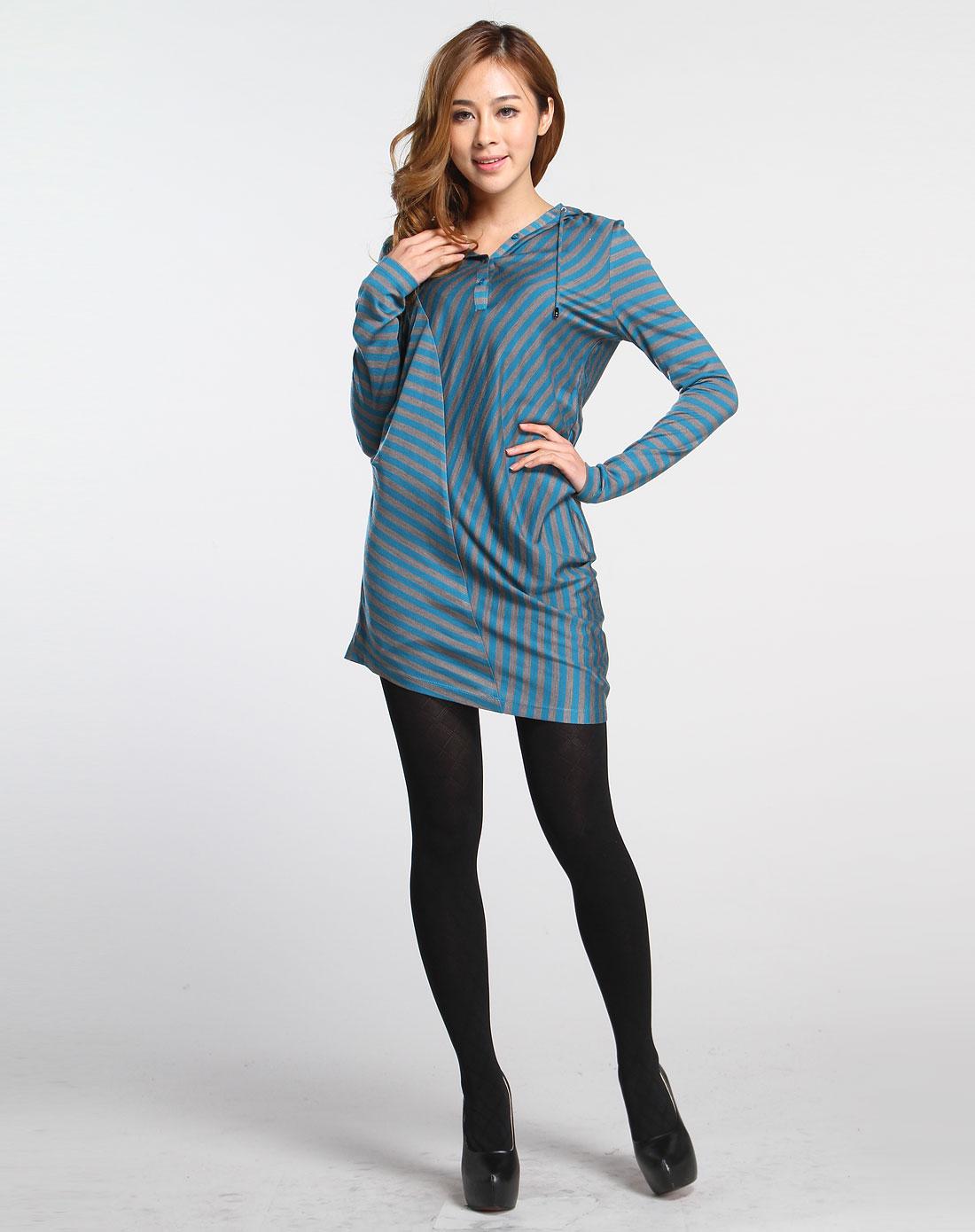蓝绿/灰色连帽条纹时尚长袖针织衫