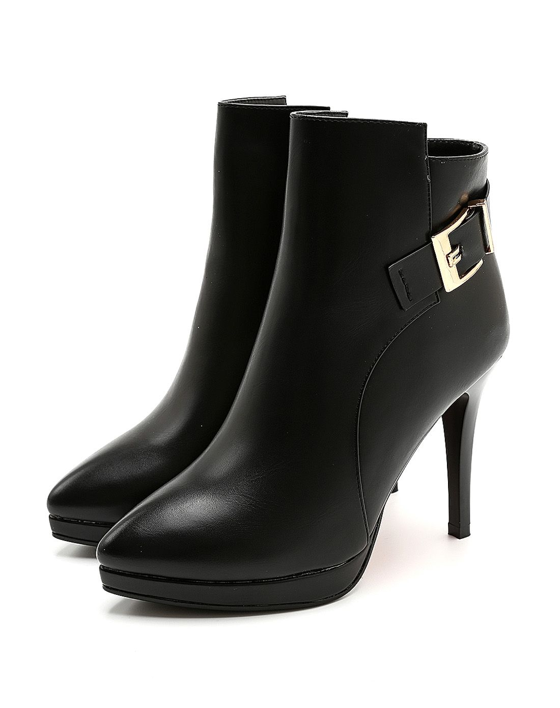 2015年新款图片细高跟女士时尚单靴花蛇性感美女黑色图片