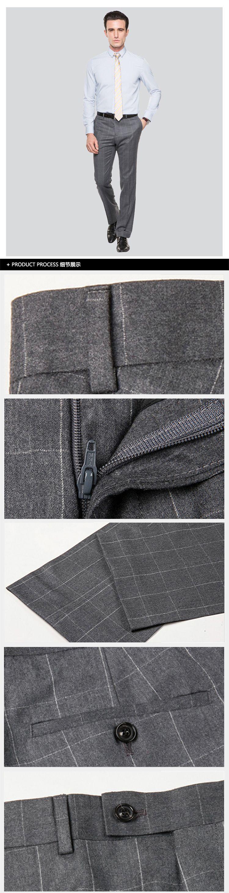 灰色复古怀旧格子西裤