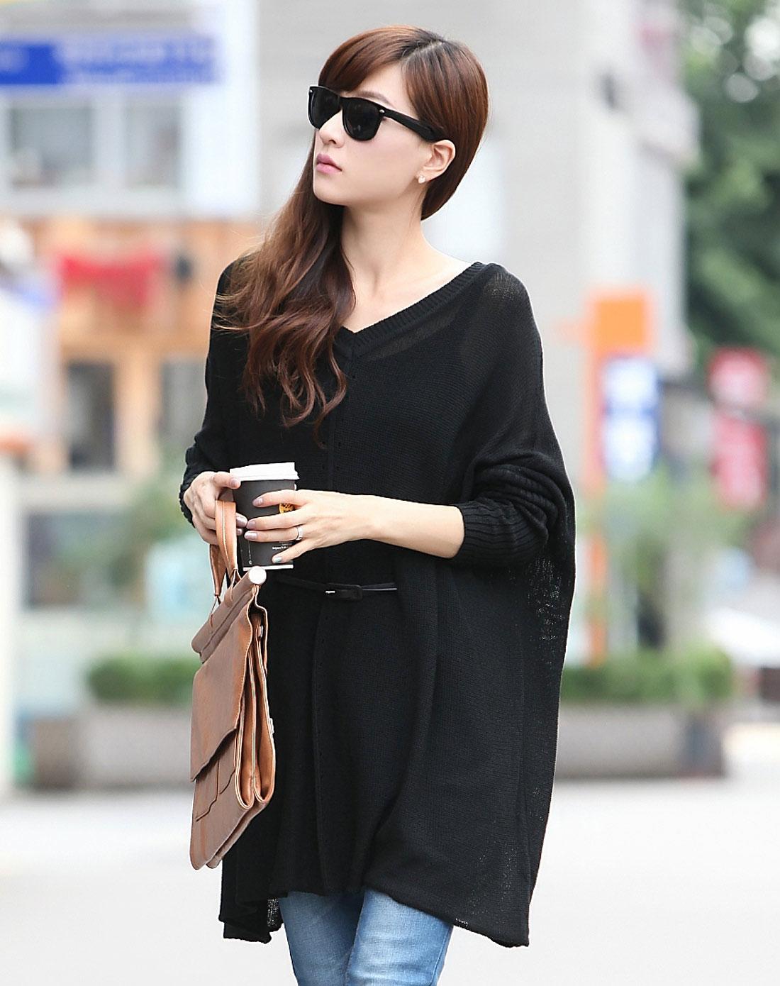 纯色宽松蝙蝠袖针织衫