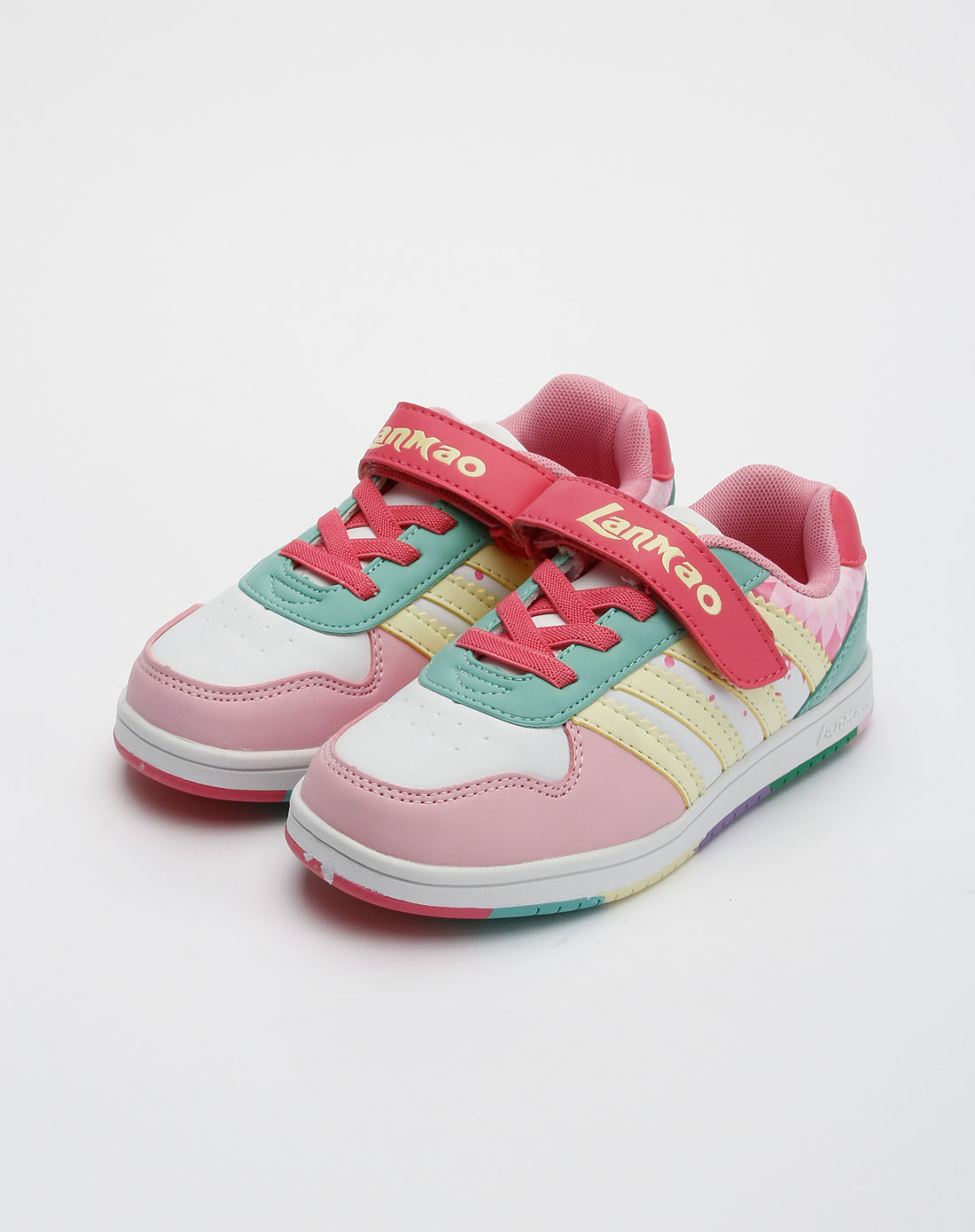 蓝猫lanmao男女童鞋女中童白粉红运动鞋(31-37)