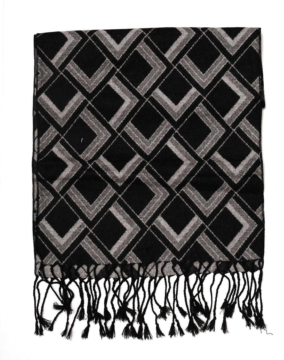 中性黑色/灰色格子时尚围巾