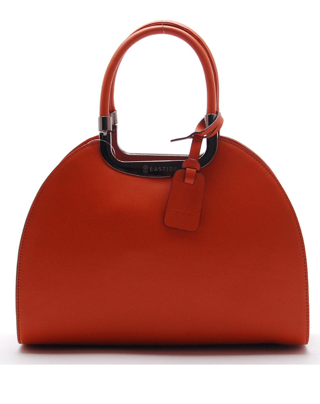 简约半圆形橙色手提包