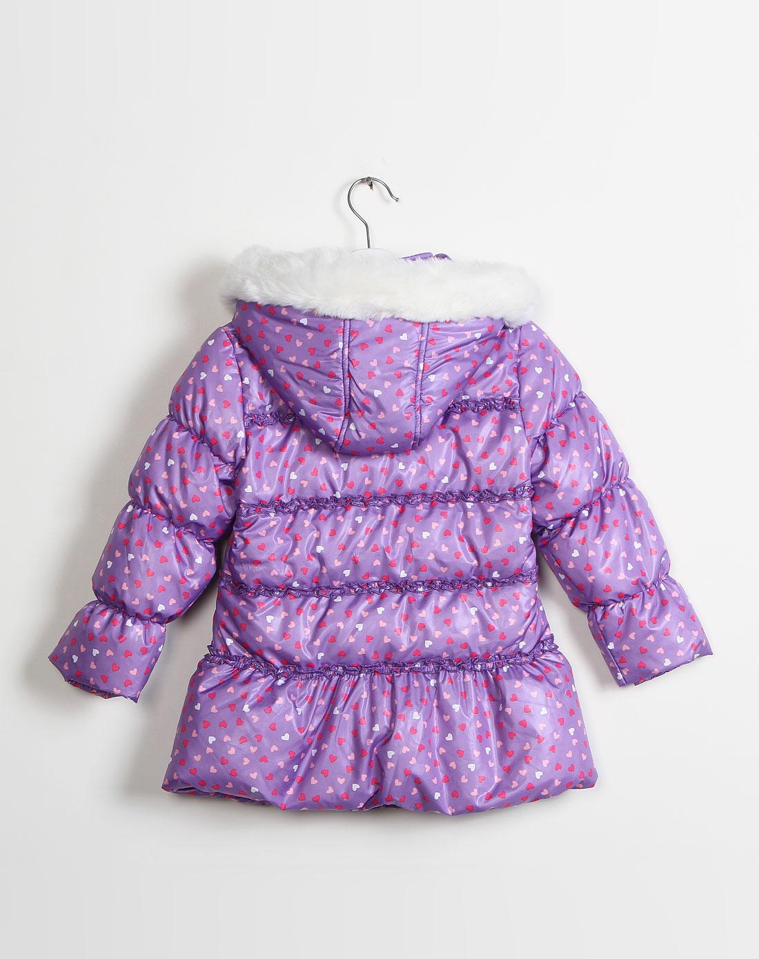 麻希玛柔moshimoro男女童混合专场-女童浅紫色心形印花带帽长袖羽绒服