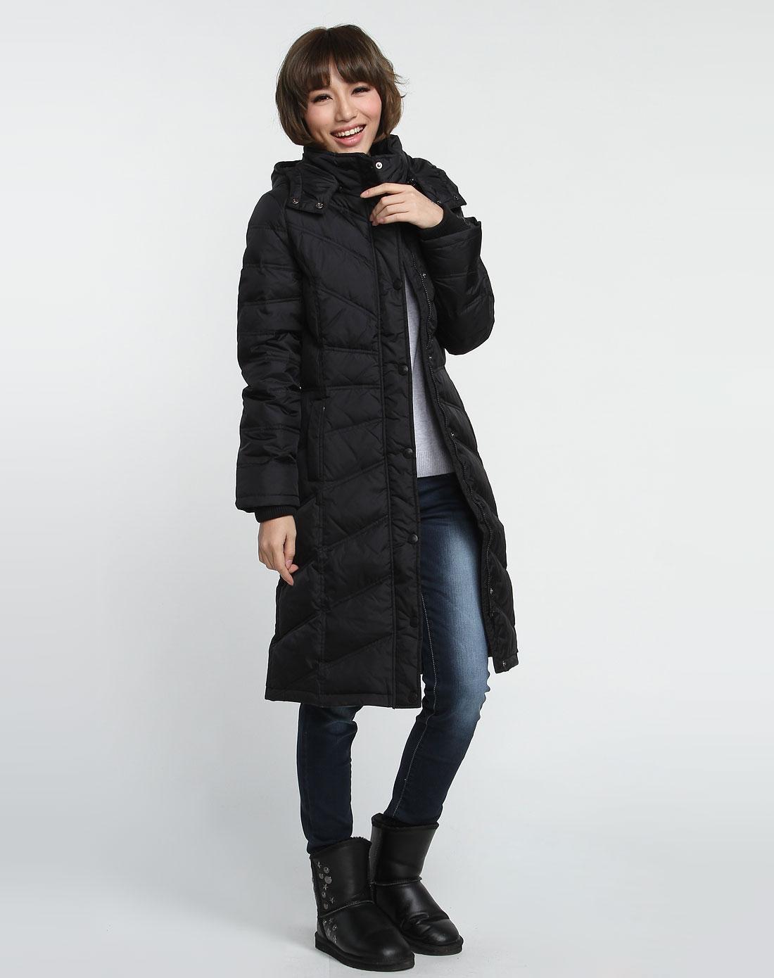 森马女装专场-黑色休闲时尚连帽长袖长款羽绒服图片