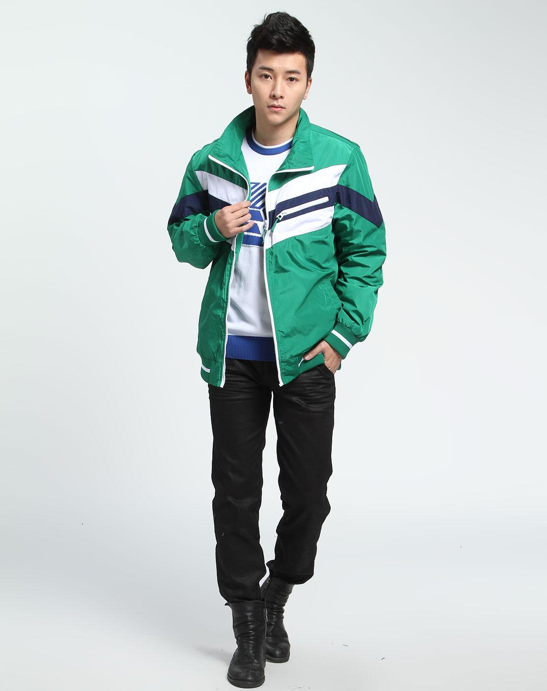 森马男装专场-绿色拼布长袖运动外套图片