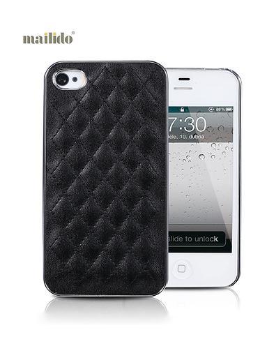 iphone 4/4s 黑色菱形时尚镶皮手机壳