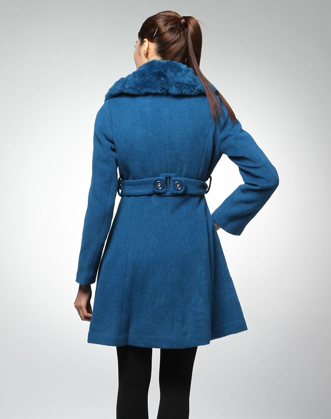 简gen深蓝色毛领优雅长袖大衣10dg84900-57