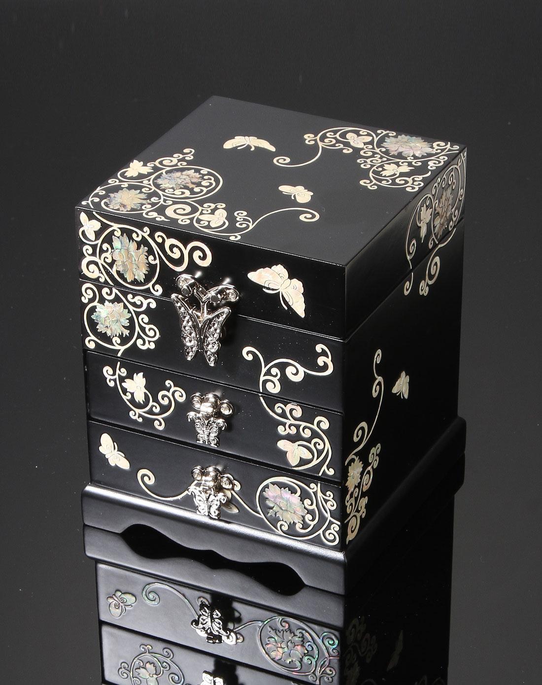 黑色螺钿漆器公主珠宝首饰盒(亚光)