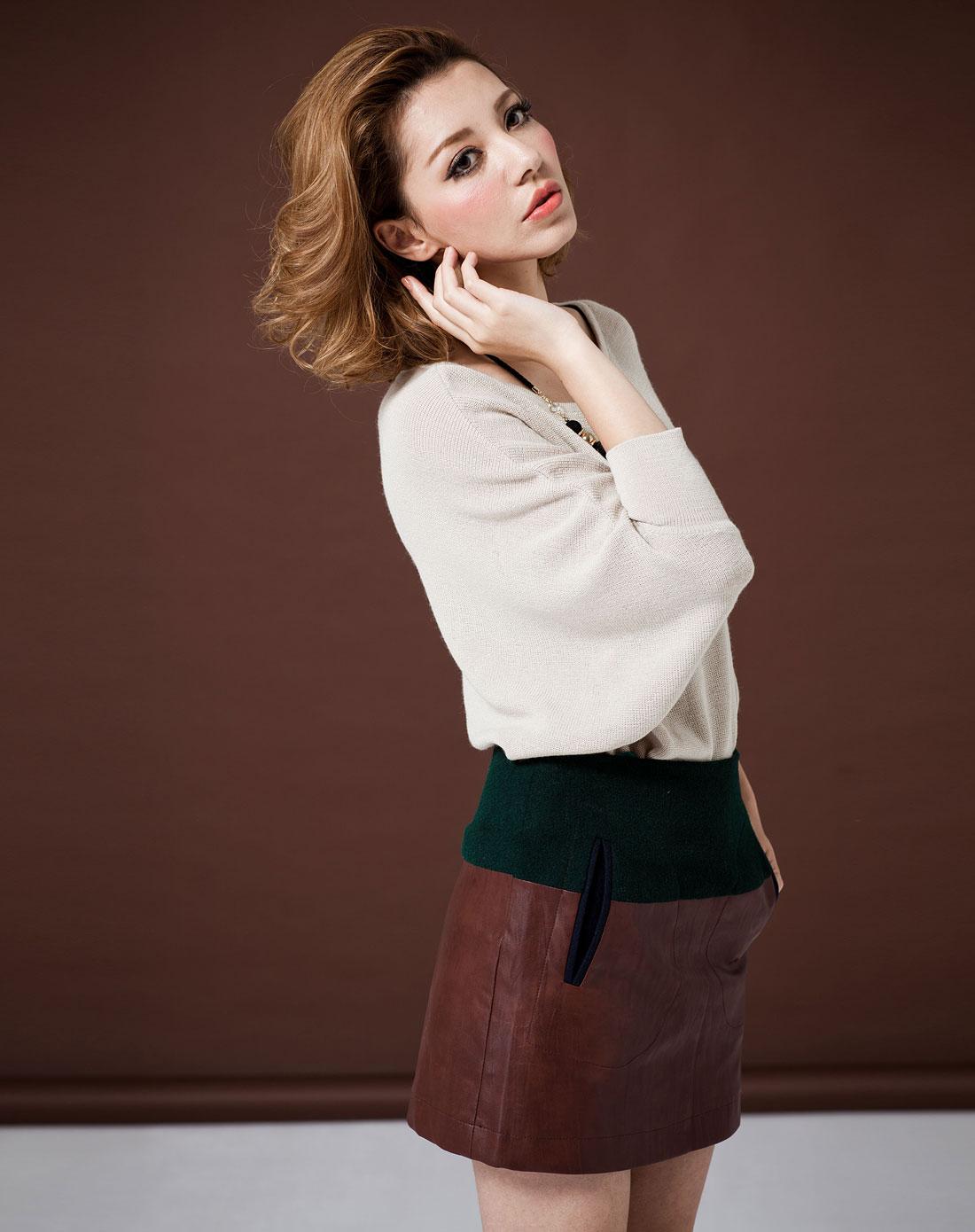 jeans墨绿拼咖啡色拼料时尚短裙u12a013-63
