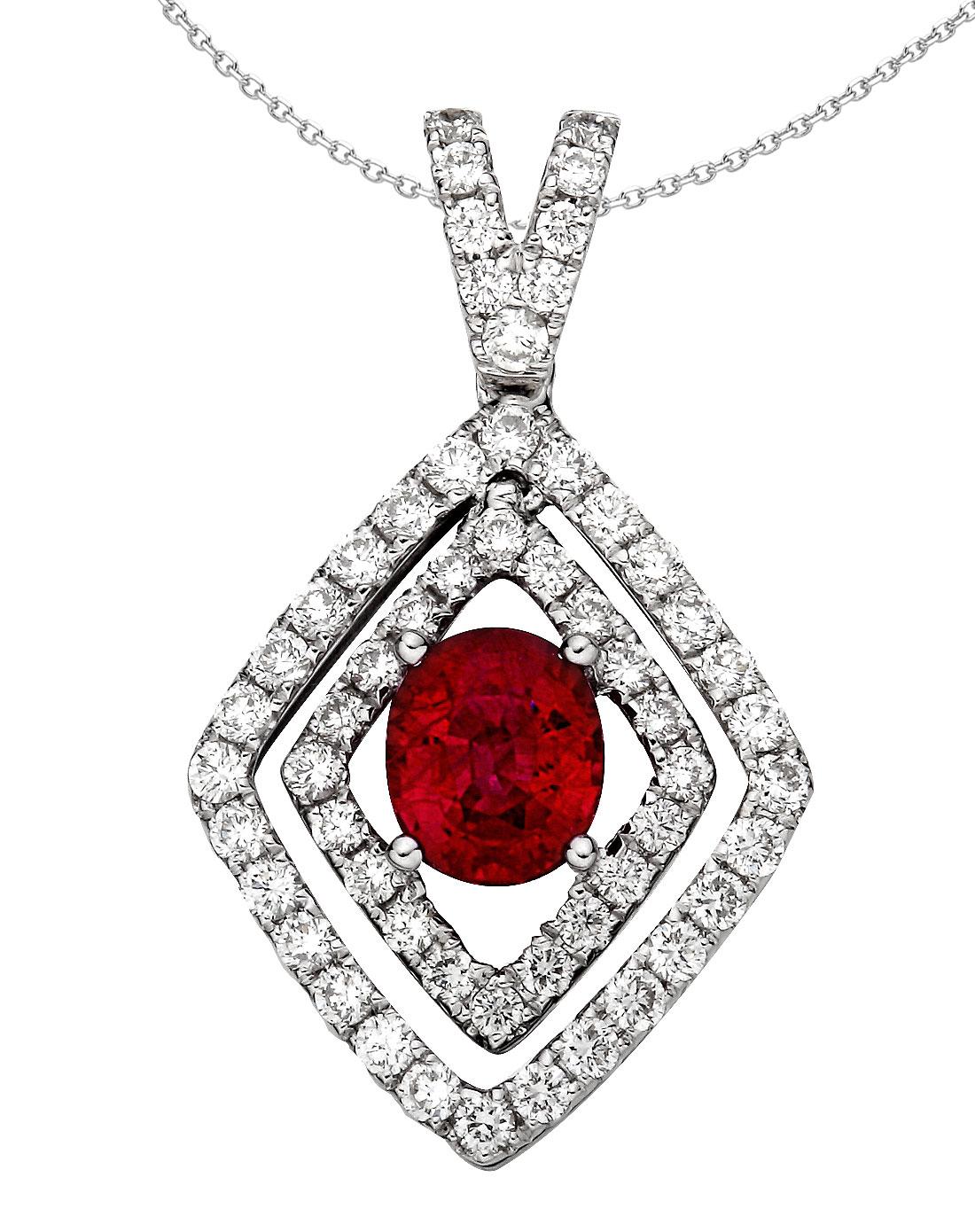 18k金镶红宝石钻石吊坠