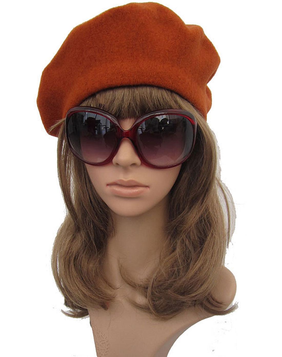 女式个性可爱潮流贝雷帽 橘色