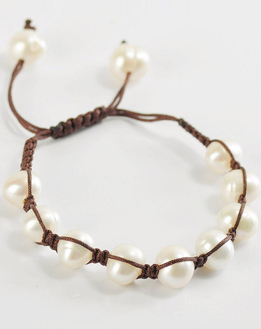 女款白色手工编绳天然淡水珍珠米手链