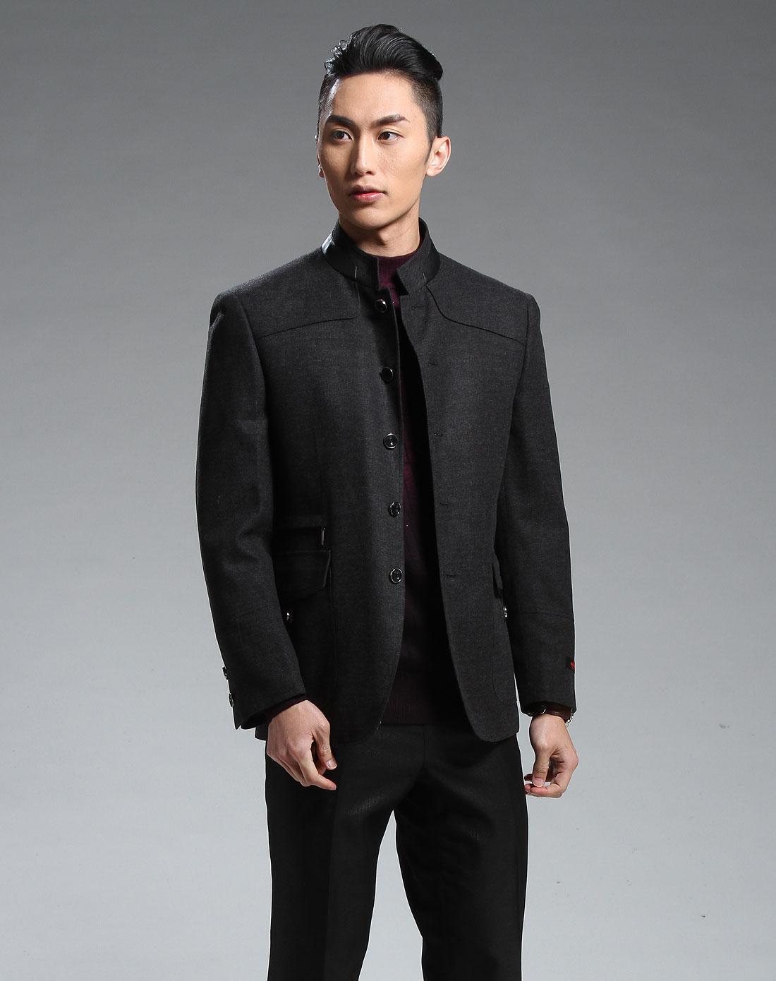 黑灰色时尚中华立领长袖外套图片