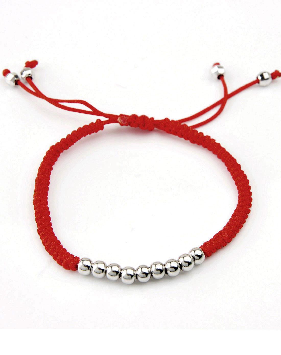 925银纯手工编织转运珠红绳手链
