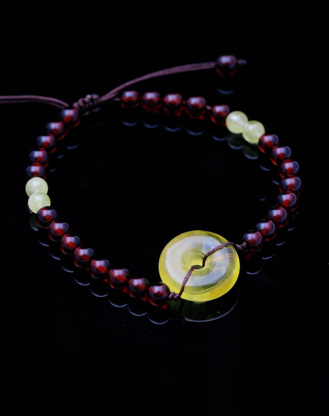 新年祈福平安扣血珀珍珠蜜手链