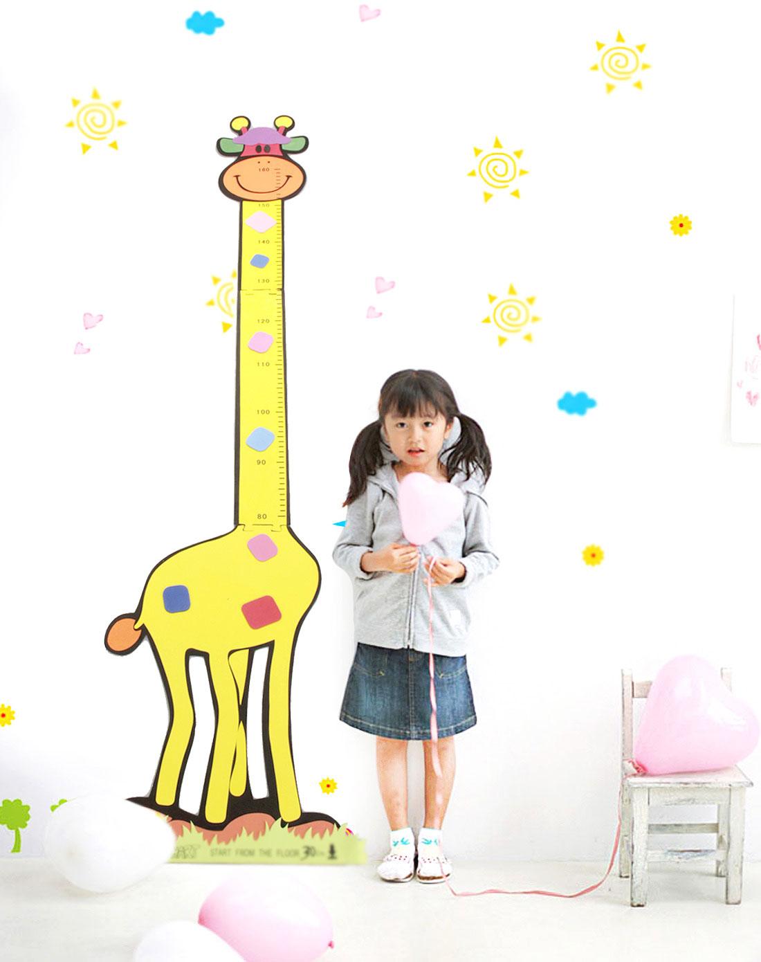 黄色卡通长颈鹿身高尺