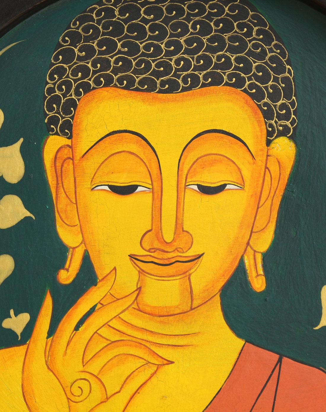 泰国天然柚木手绘墙壁挂件-拈花佛面佛盘(绿色)
