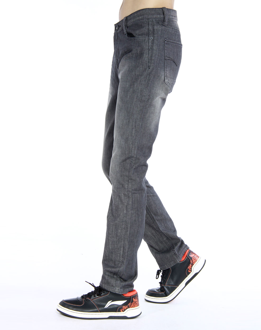 森马-男装铁灰色休闲牛仔长裤013141506-889图片