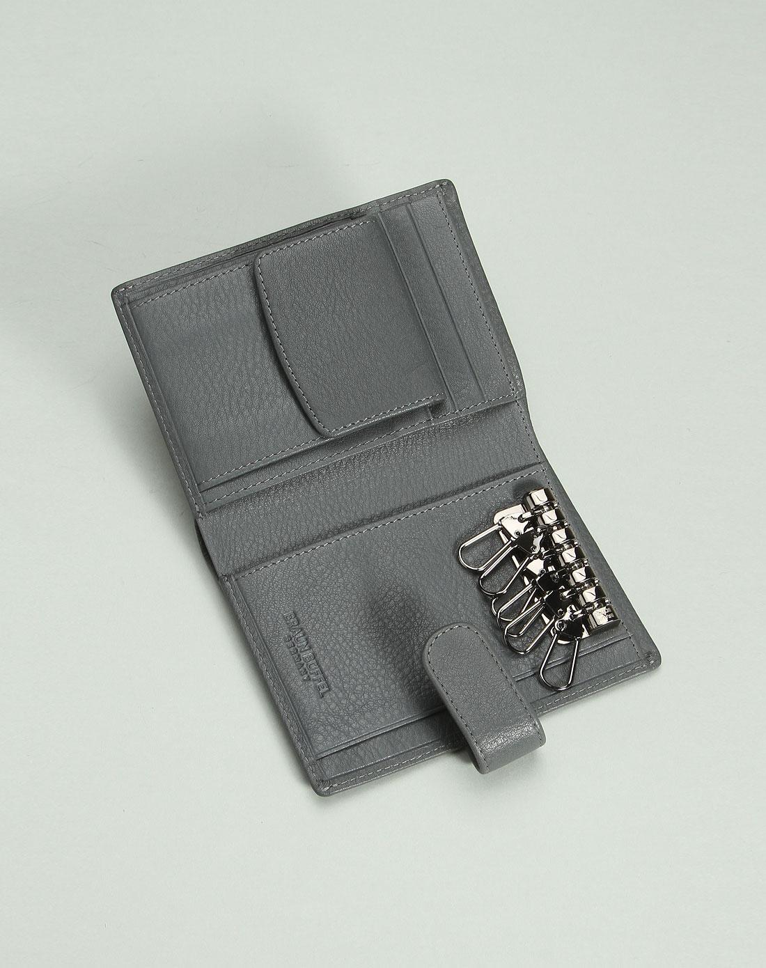 男款型格时尚魅力短款牛皮钱包灰色