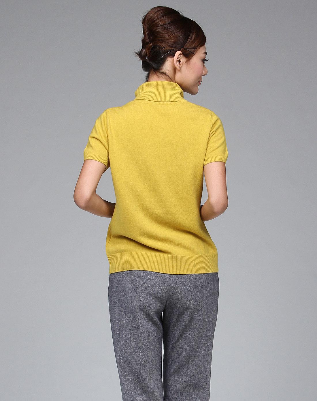 姜䲹a�_浅秋浅姜黄色简洁烫钻短袖套衫a0826-278_唯品会