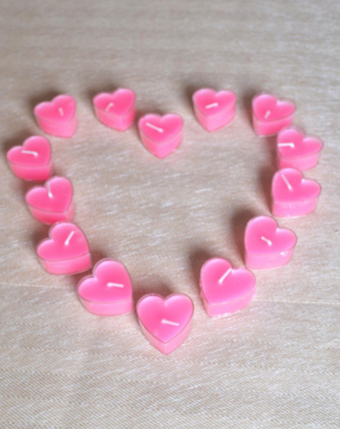 粉红色浪漫心形无烟蜡烛(9个装)