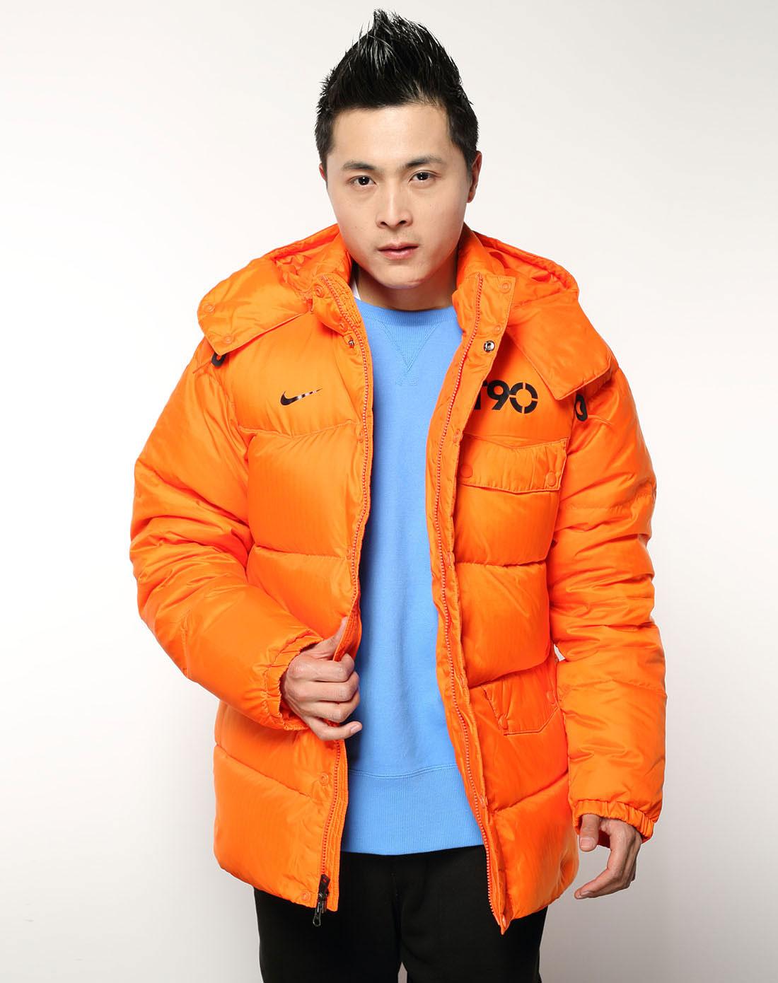 耐克nike足球系列男子橙色羽绒服434205-827