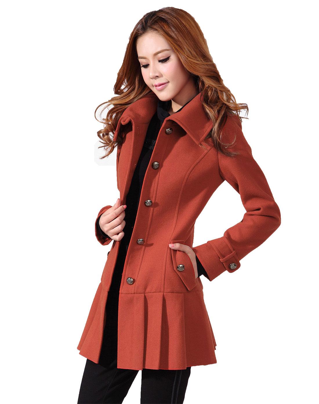 橙红色长款收腰呢子大衣