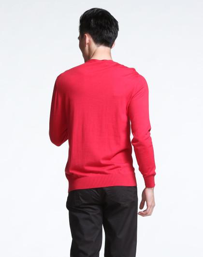 假两件男长袖_男款玫红色假两件长袖针织套头毛衣