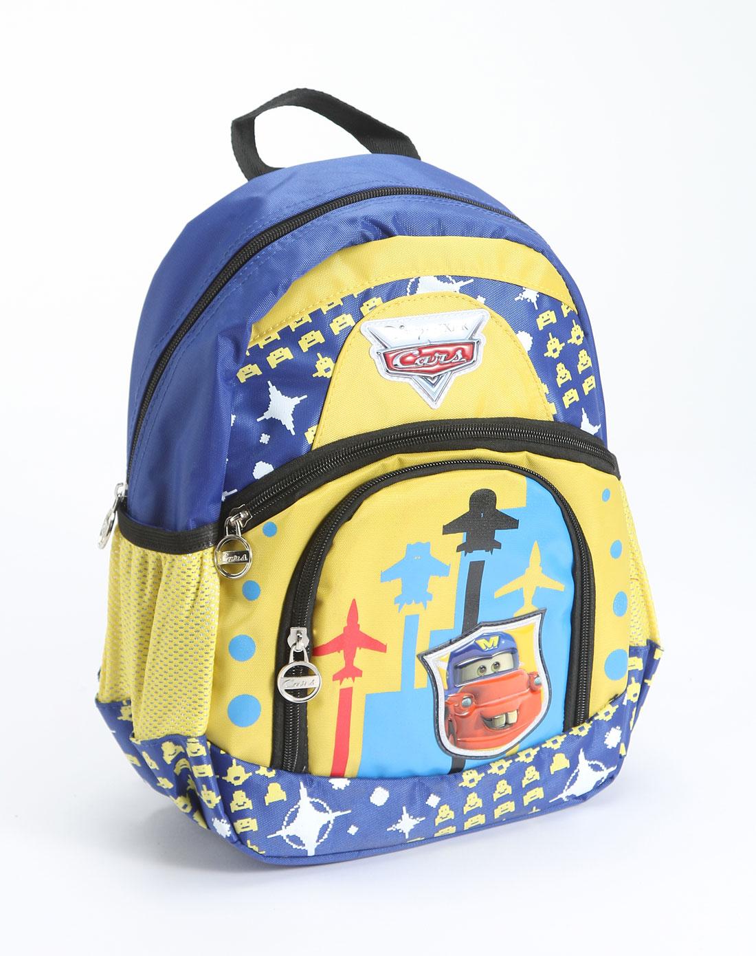 迪士尼disney儿童用品专场中性黄/蓝色汽车卡通双肩