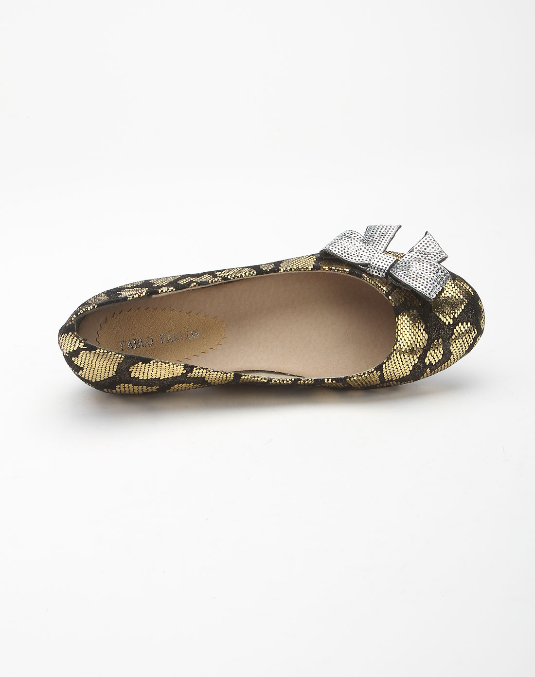 金黄色亮片蝴蝶结蛇纹诱惑平底鞋