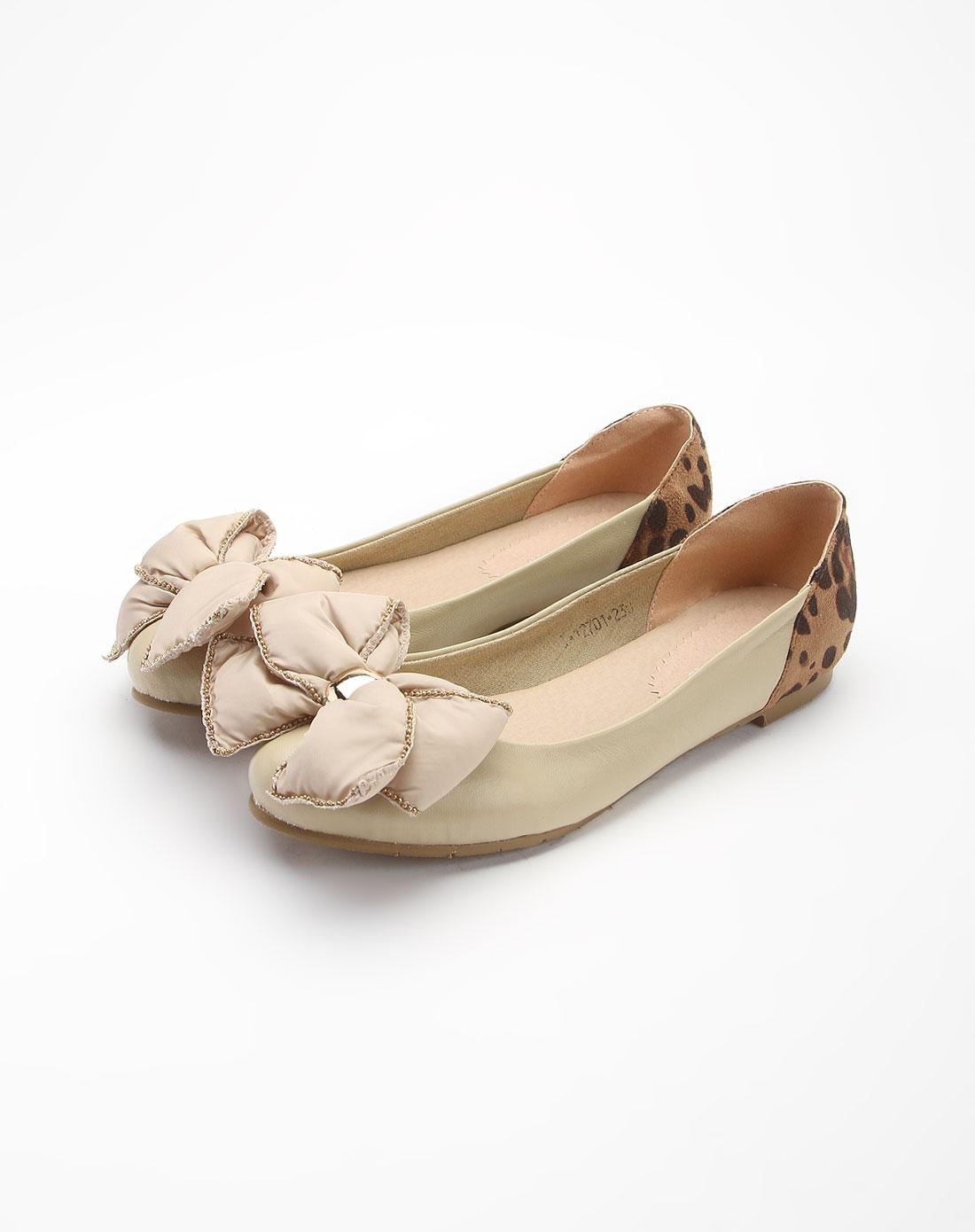 米白色可爱大蝴蝶结淑女平底鞋