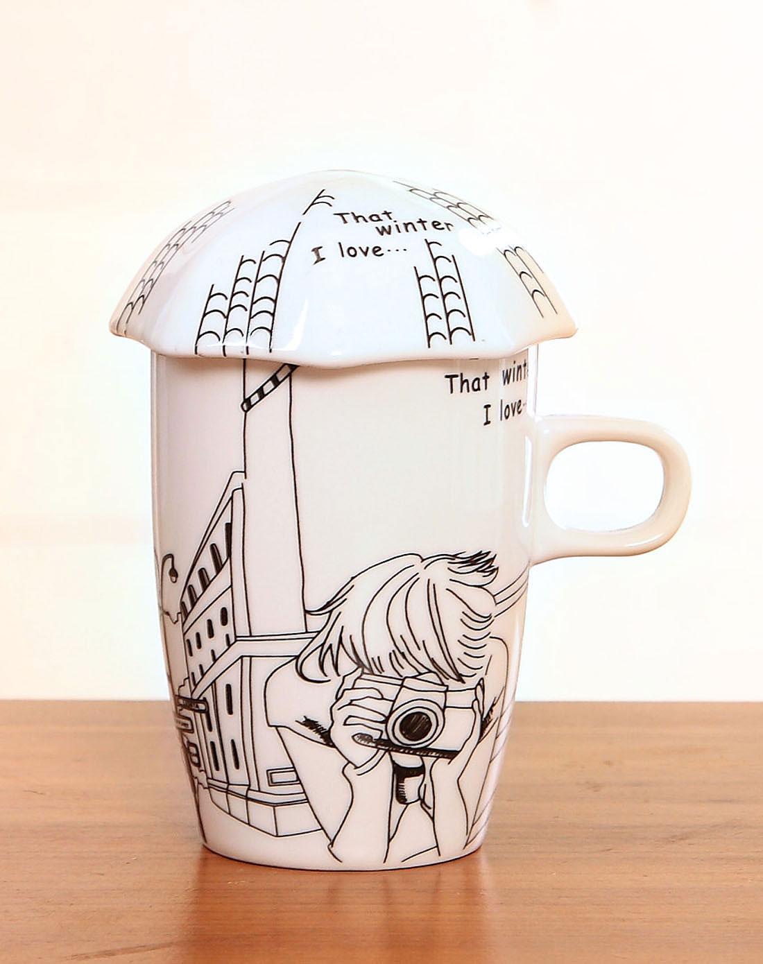 手绘漫画风陶瓷马克杯