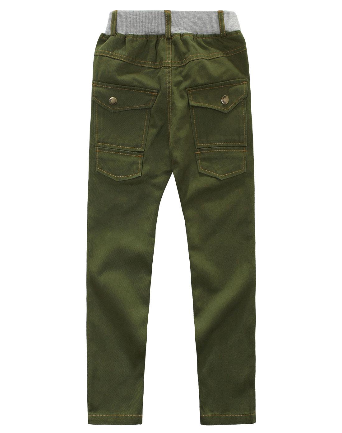 军绿色休闲裤男直筒