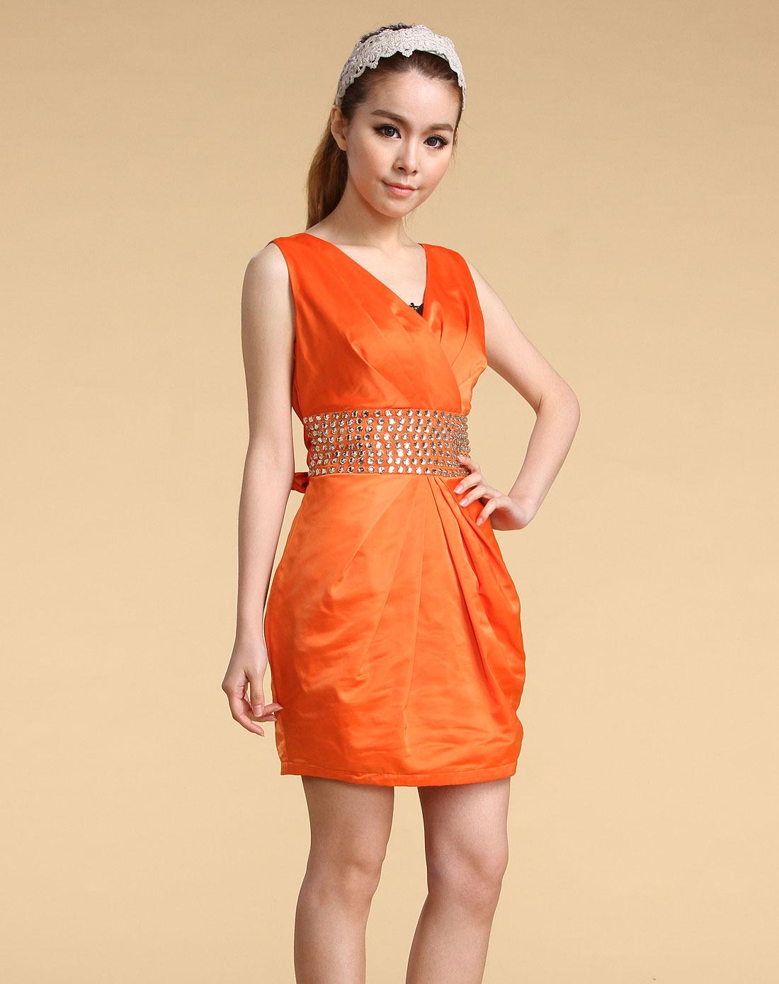 橙色蝴蝶结无袖连衣裙