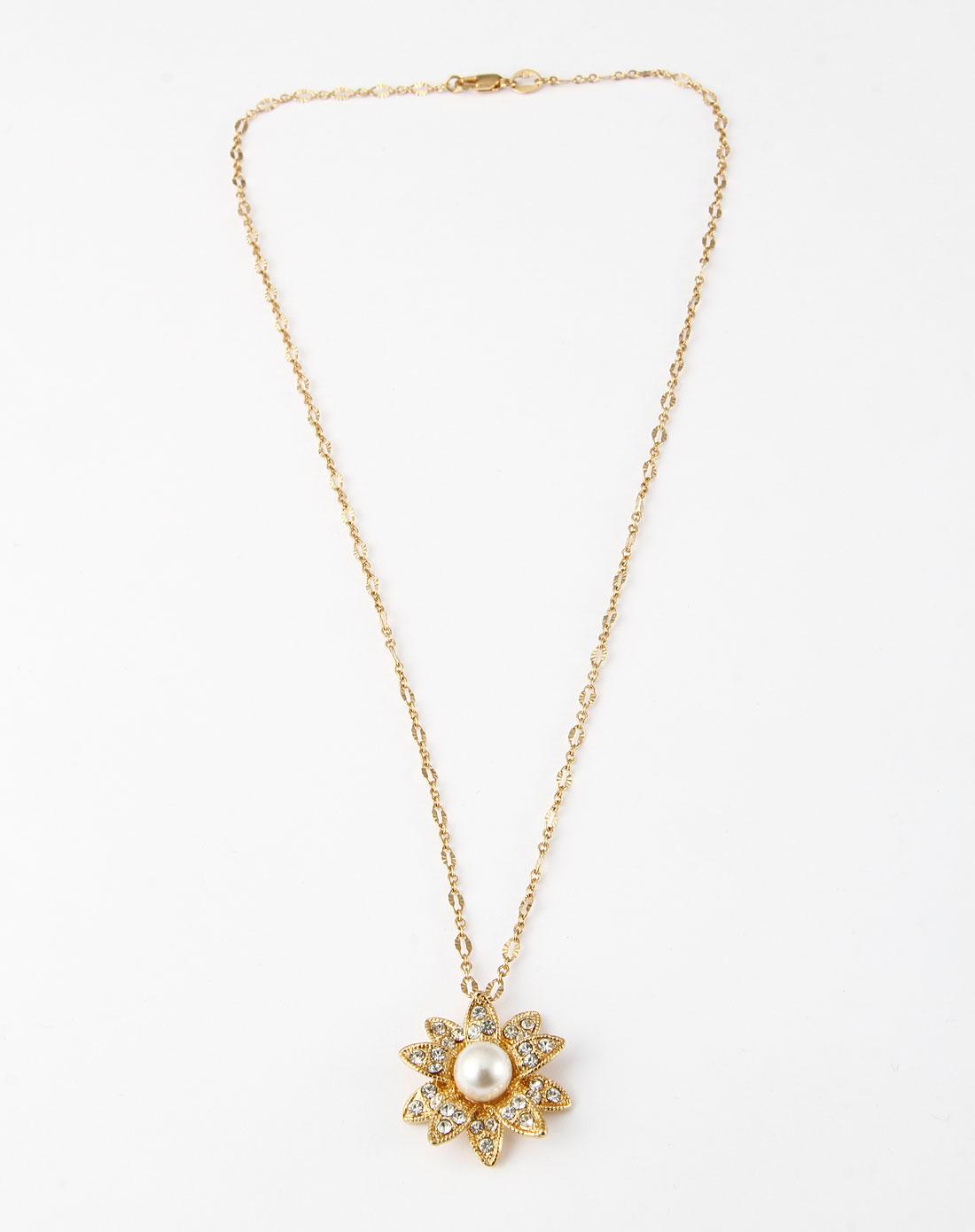 金色立体贝珠太阳花项链