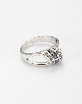 黑白水晶立体简约戒指