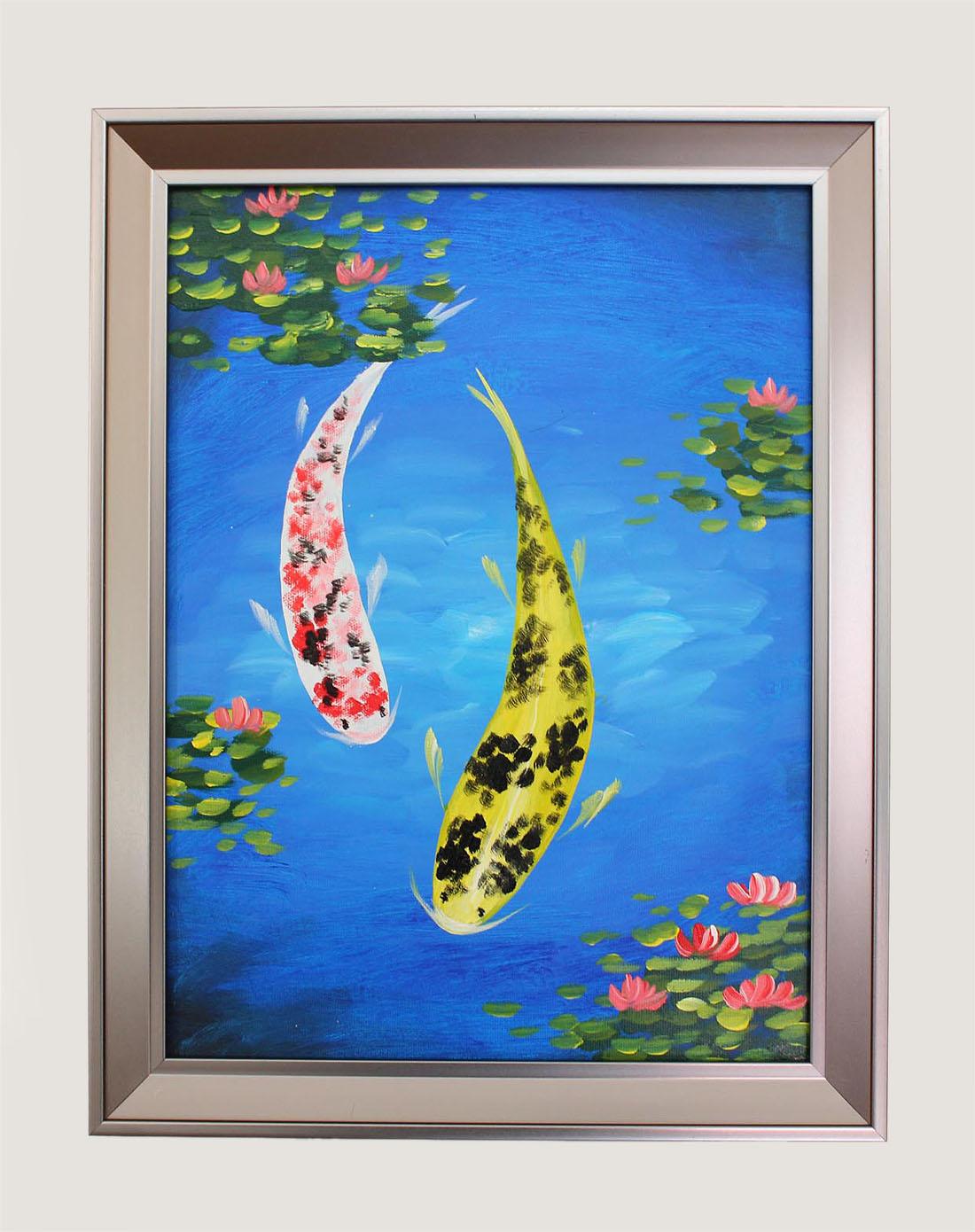 手绘油画-锦鲤图