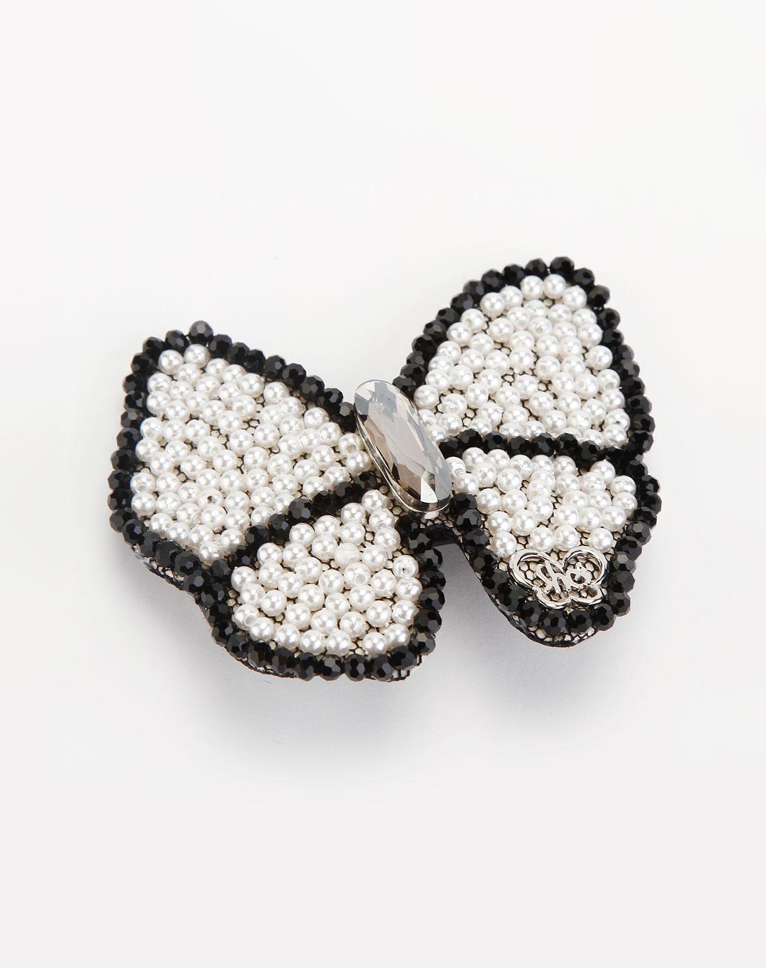 白/黑色蝴蝶串珠发夹