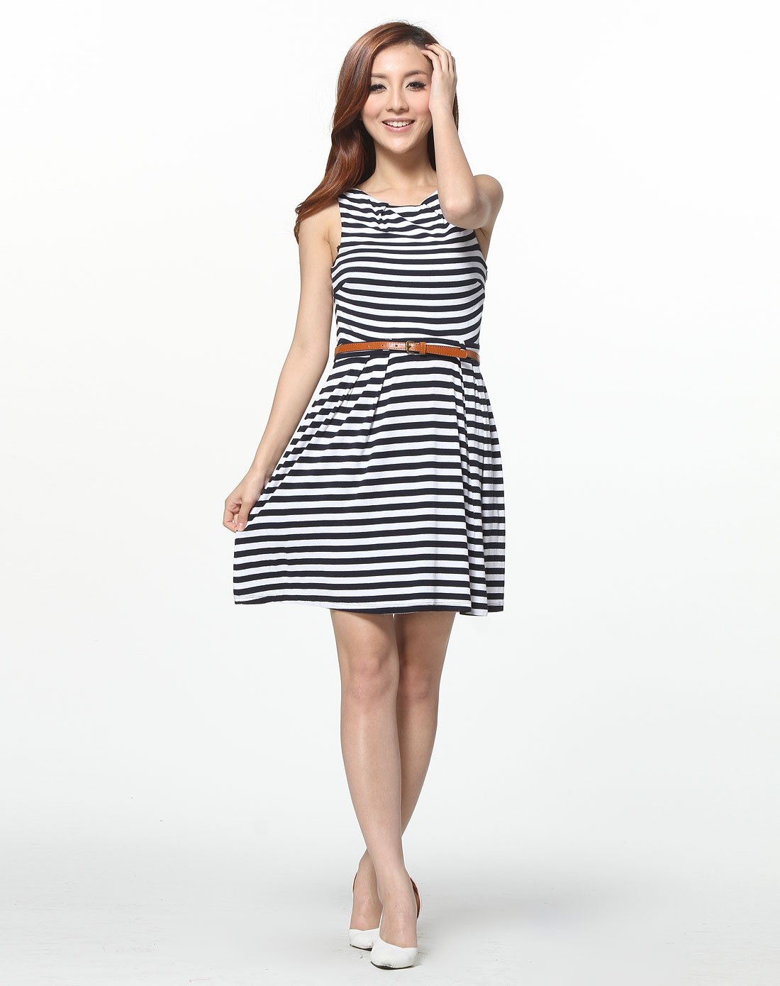 藏蓝白色条纹无袖针织连衣裙