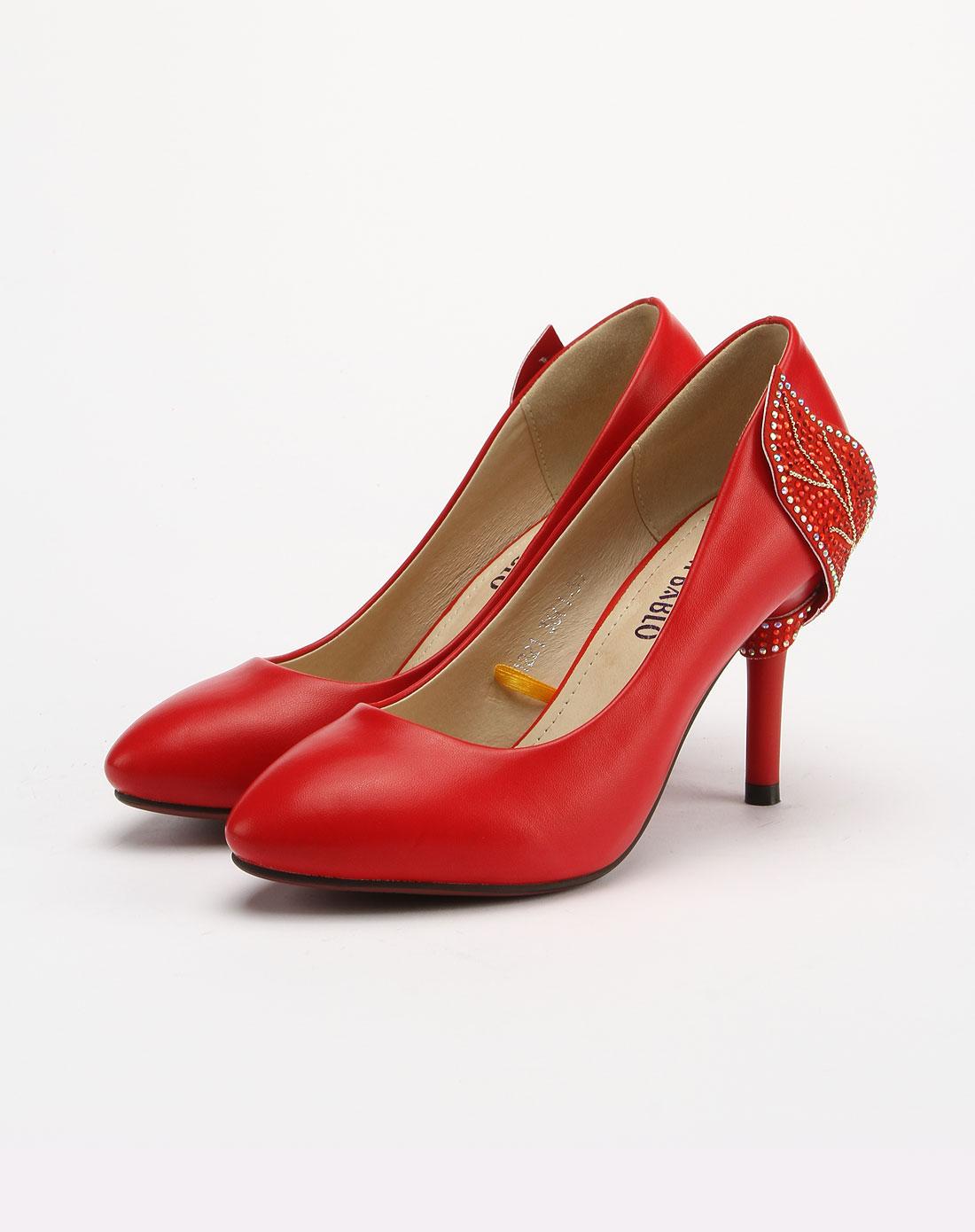 bablo烫钻简约气质红色细高跟鞋b21221-红色