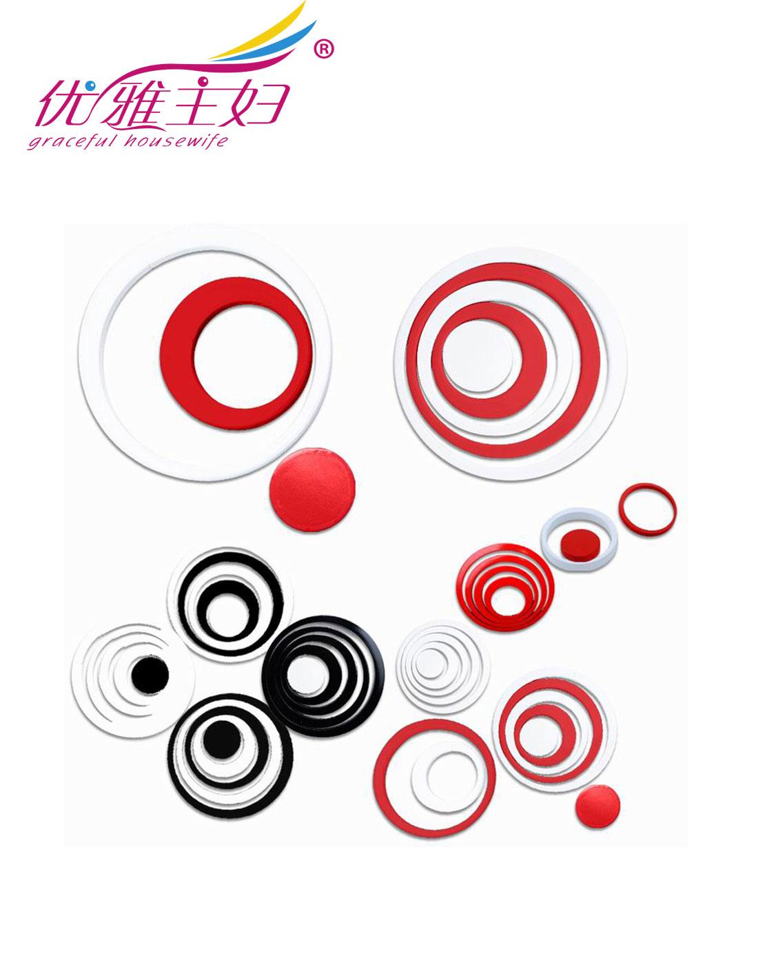 创意圆环立体墙贴(红黑白30个圈)