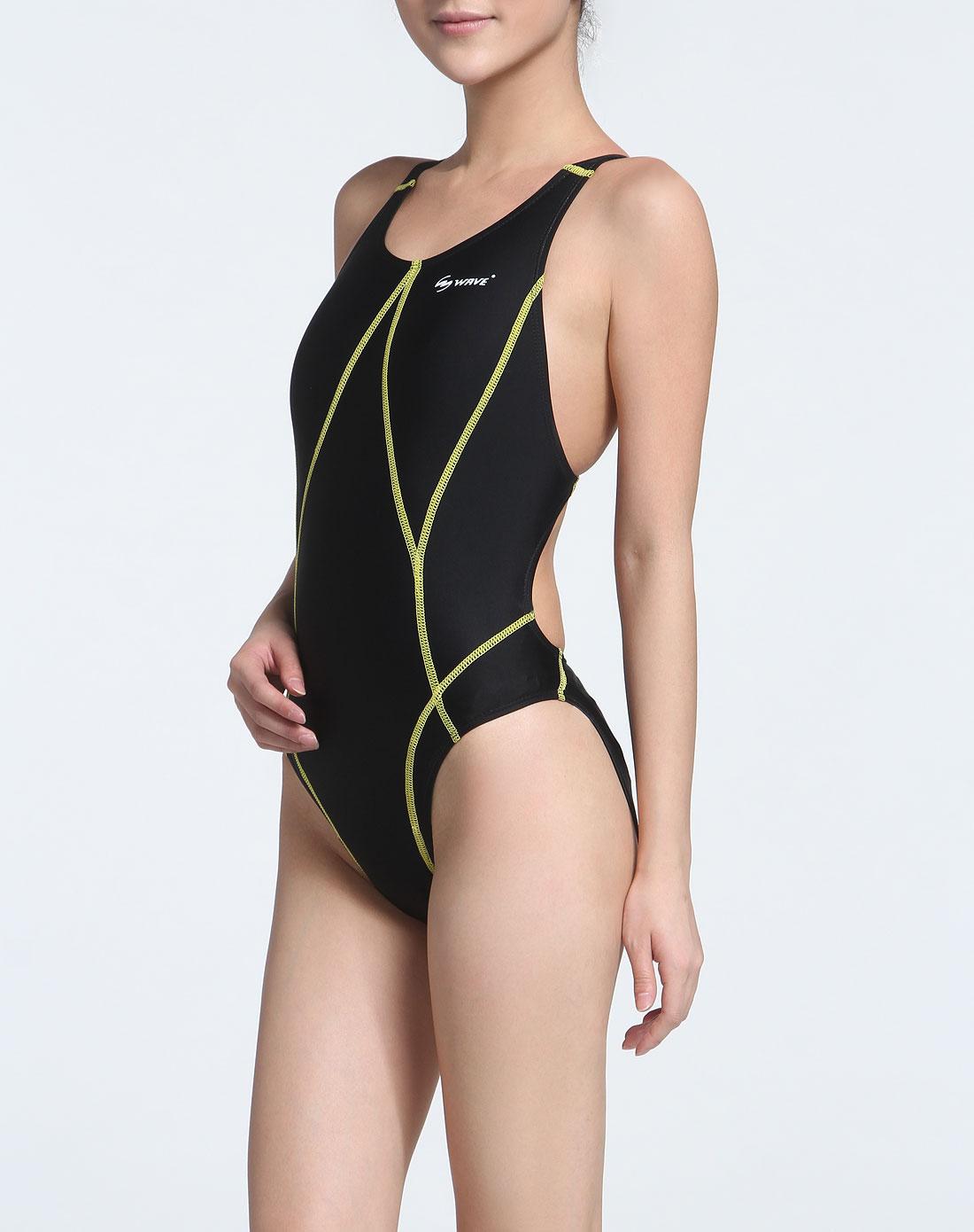 海浪 女款黑色轻质贴身连体游泳衣