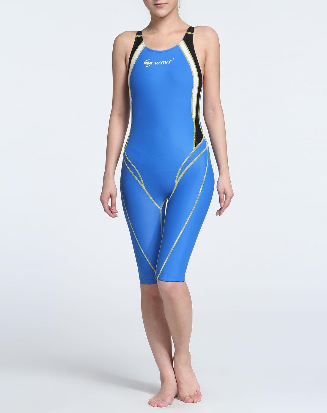 海浪 女款蓝色贴身弹力连体泳衣