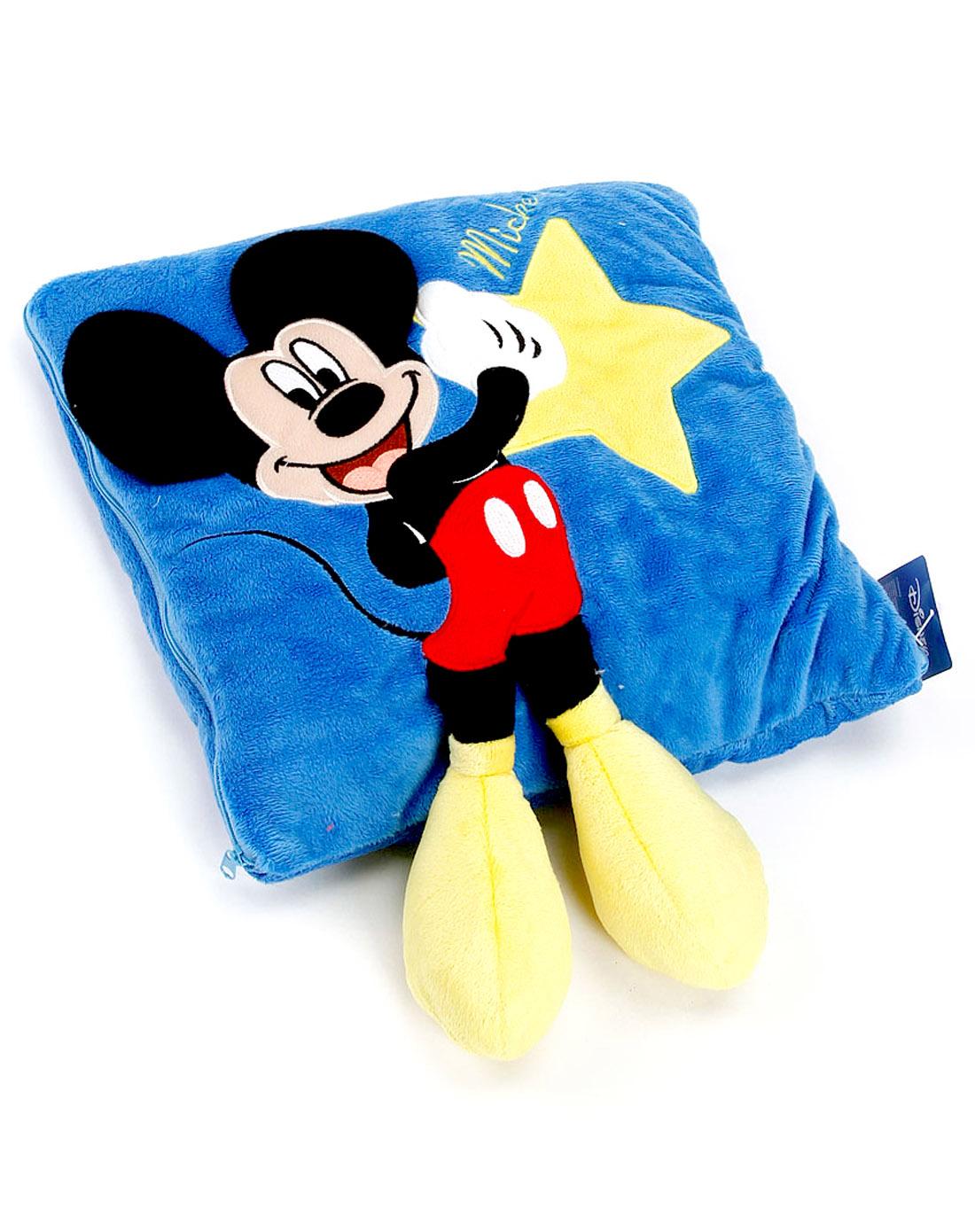 米奇立体蓝色抱枕被
