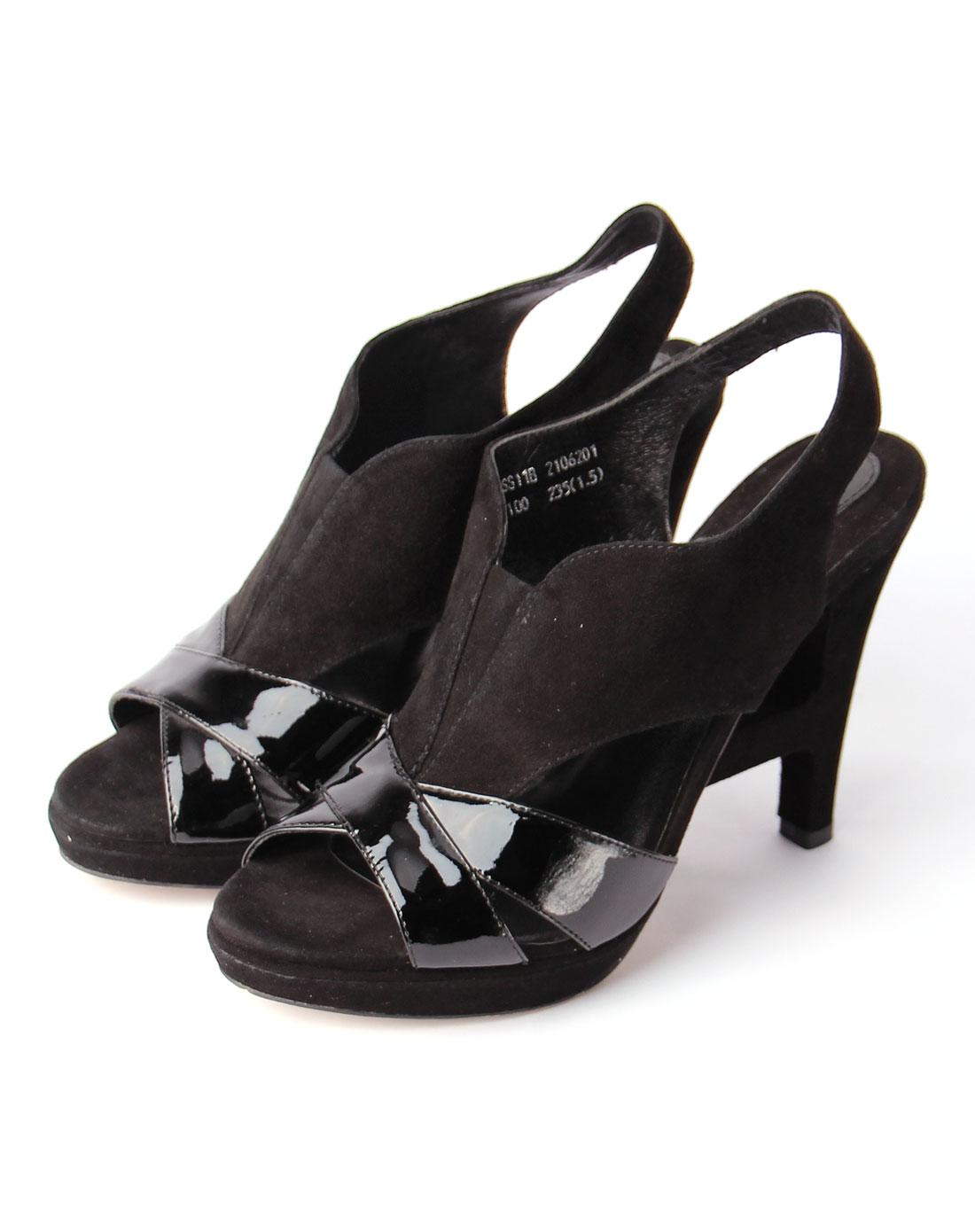 女款黑色牛漆皮/黑色羊皮反绒凉鞋
