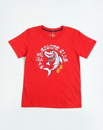 男童鲨鱼字母印花大红色圆领短袖t恤