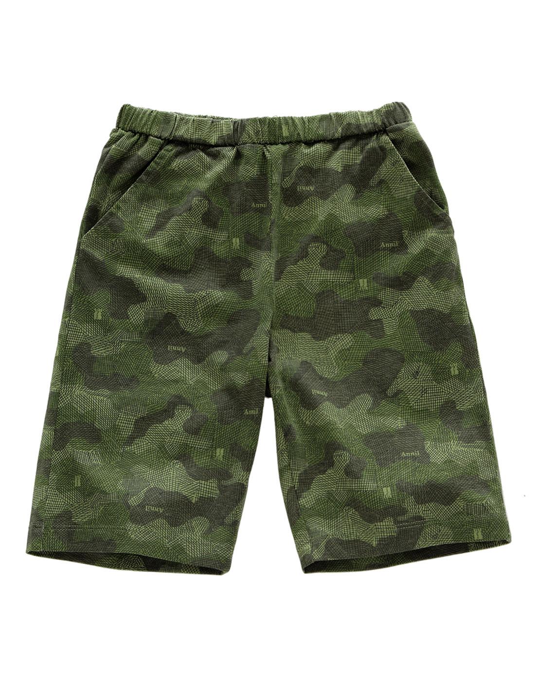 男童绿手绘迷彩花全腰针织中裤