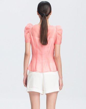 藕红泡泡袖领口活褶设计短袖衬衫