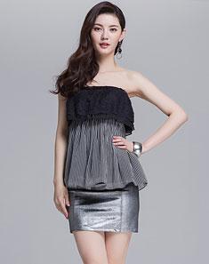 黑色条纹时尚抹胸上衣